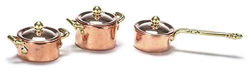 Melody Jane Maison de Poupées Accessoire de Cuisine Miniature Cuivre Or Casserole Ensemble