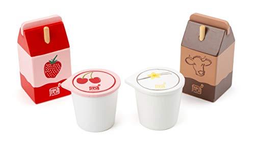 Small Foot-11440 Set di Prodotti lattiero-caseari Fresh, in Legno, Ruolo, Negozio di Accessori e Cucina per Bambini Giocattoli, Multicolore, 11440