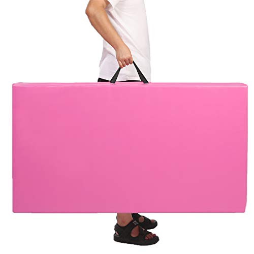 gymmatsdirect Gymnastics Tumbling Exercise Mat, 4'x8'x2 High Density EPE Foam Core Folding Gym Mats Pink Color, Pink (4 Sections)