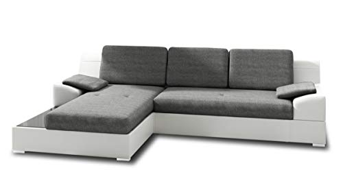Ecksofa Aldo mit Glasregal, Couchgarnitur mit Bettfunktion und Bettkasten, Sofagarnitur, Couch mit Schlaffunktion, Big Sofa (Weiß + Grau (Soft 017 + Inari 91), Ecksofa Links)