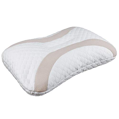 Polyethylene Pipe Pillow Cervical Contour Pillow 25x17 Inch Adjustable Japanese Style for Side Sleeper, with Polyester Fabric Removable Pillow Cover