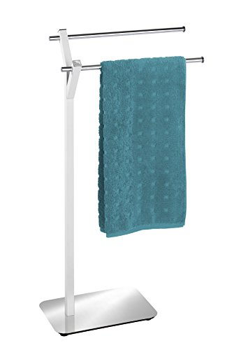 Wenko Design Handtuchständer mit 2 Stangen, Albero Handtuchhalter für Bad oder Küche, freistehend, Handtuchstange 2 armig, 45 x 83,5 x 20 cm edelstahl weiß