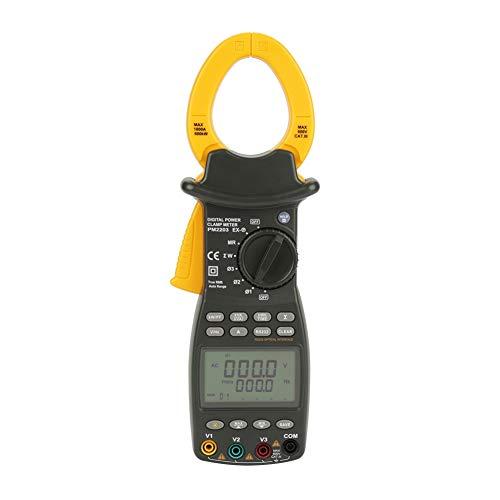 Fishlor Pinza amperimétrica Digital, Pinza amperimétrica Profesional MS2203 Pinza amperimétrica Digital trifásica Multímetro Pinza amperimétrica con Factor de Potencia