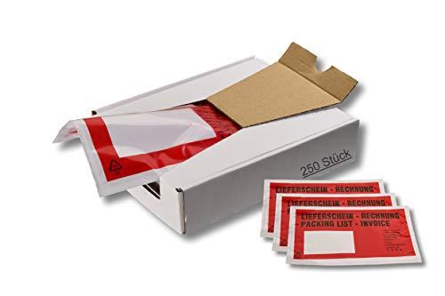 1 caja = 250 unidades bolsas para documentos o envíos – DIN largo – Color: rojo – Estampado: factura / billetes de expedición