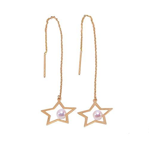 JYX Ohrringe 14 Karat Gold 3,5 mm weiße japanische Akoya-Perle Stern