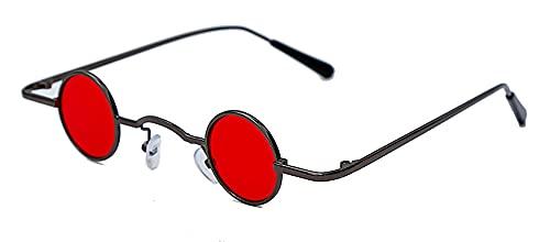 Steampunk Pequeñas Gafas de Sol Mujer Vintage Retro Retro Espejo Redondo Gafas de Sol Hombres Eyeaglass de Lujo UV400 Oculos (Color : 1, Size : F)