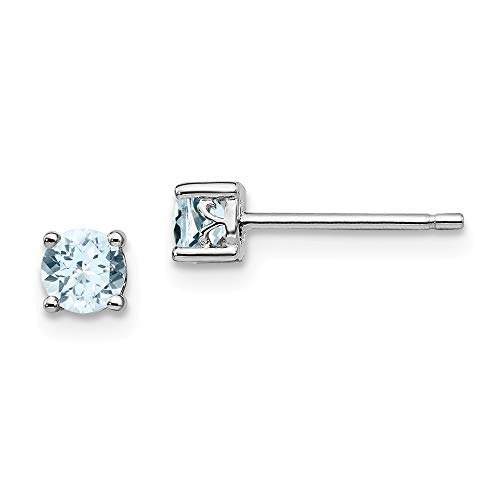 925 Sterling Silver Rhodium plated 4mm Round Aquamarine Post Earrings Jewelry Gifts for Women