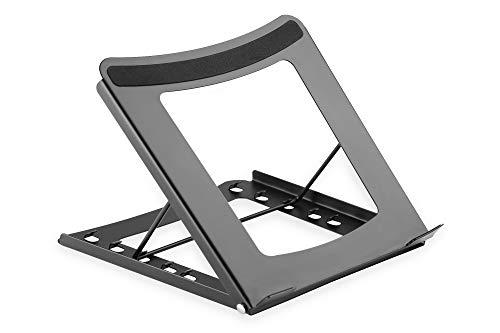 DIGITUS Notebook-Ständer - Einstellbar in 5 Positionen - Für 10-Zoll bis 15-Zoll Laptops - Robuster Stahl - Schwarz