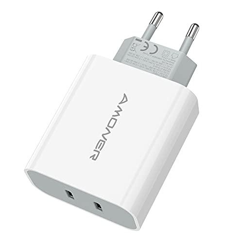 Amoner USB C Ladegerät 40w USB C stecker iPhone stecker USB C Netzteil für iPhone Schnellladegerät 2 Port Schnellladegerät kompatibel mit iPhone13,13pro,13pro max, 12,12 Pro Max,11 Pro Max,neu SE,XR