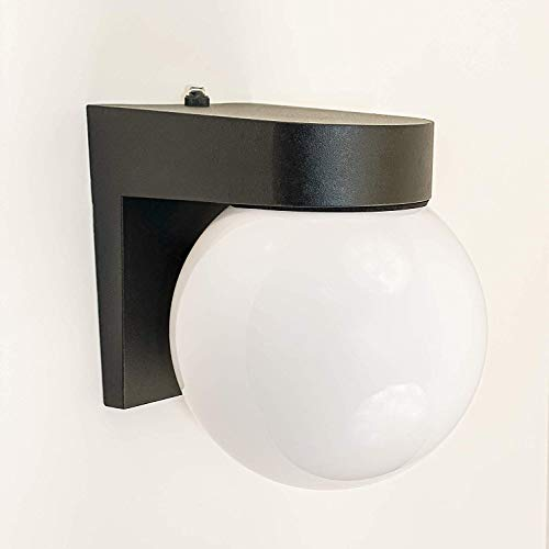 CORAMDEO Commercial Residential Outdoor Globe Light, Dusk to Dawn Photocell, Wet Location, Built in LED Gives 75W of Light from 11 of Power, Black Cast Aluminum with White Acrylic Lens