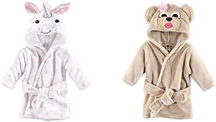 Hudson Baby Girl Plush Animal Face Bathrobe 2-Pack, White Unicorn Miss Monkey