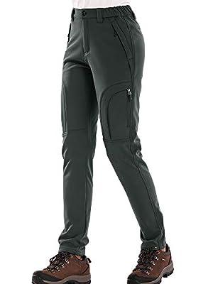 Women's Fleece Lined Outdoor Cargo Hiking Pants Water Repellent Softshell Snow Ski Pants with Zipper Pockets,H4409,Grey,30