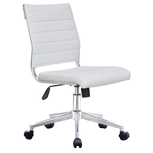 2xhome Modern Ergonomic Executive Mid Back PU Leather No Arms Rest Tilt Adjustable Height Wheels Cushion Lumbar Support Swivel Office Chair Conference Room Home Task Desk Armless… (White)