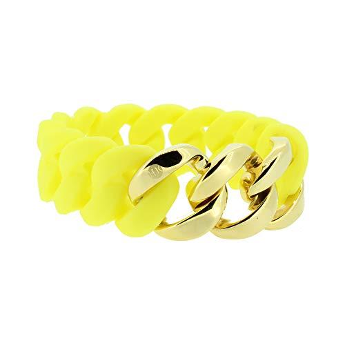Hanse-Klunker Armband Damen ORIGINAL Silikon Gelb, Edelstahl Gold Armreif Armkette Frauen Mädchen Größe 18-19 cm inkl. Schmuck-Geschenk-Box