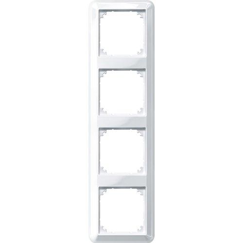 Merten 388419 ATELIER-M-Rahmen, 4fach, polarweiß glänzend