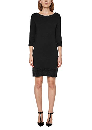 s.Oliver BLACK LABEL Damen Strickkleid mit Fancygarn-Details Secret Black 40