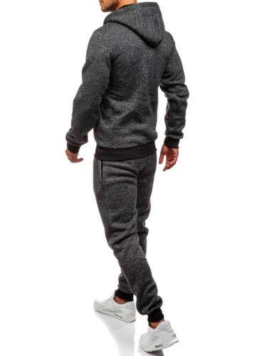 Geagodelia Tuta Sportiva a Maniche Lunghe Uomo Felpa con Cappuccio e Zip 2PC Tinta Untia Tute Pantaloni in Cotone Completo Invernale Jogger per Palestra (Grigio Scuro, XL)