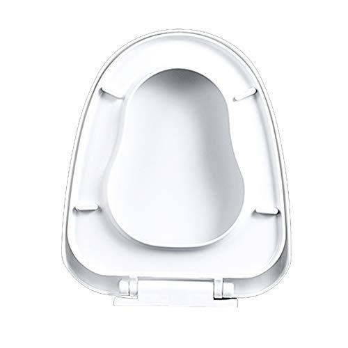 grefen Asiento de inodoro redondo suave y alargado, evita los golpes de asiento con caché alargado, color blanco, con cierre silencioso, fijación rápida, forma de escalera fácil de limpiar