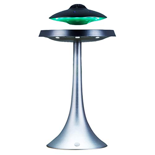 Qazxsw UFO Levitación Magnética del Vector del Partido,De La Lámpara LED De Luz Ambiente Audio Creativa Bluetooth Altavoz Inicio Suspensión del Subwoofer,Silvergrey,34 * 18.5cm