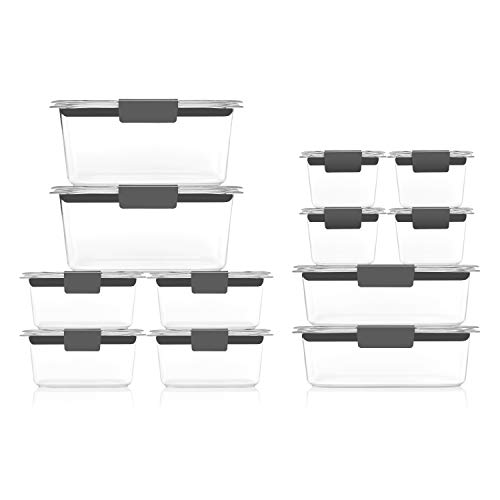 Rubbermaid Brilliance Storage 24-Piece Plastic Lids  BPA Free Leak Proof Food Container Clear