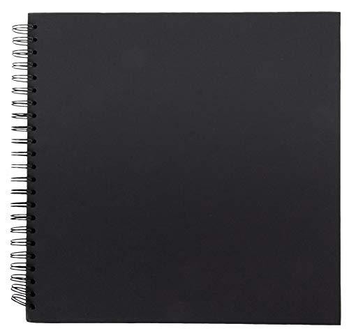 Hardcover Scrapbook – Blanko Hochzeits-Gästebuch, Fotoalbum, quadratisch, Spiralbindung, Kartoneinband, Skizzenbuch für Kinder, DIY Handwerk, Tagebuch, Schwarz, 40 Blatt, 30,5 x 30,5 cm