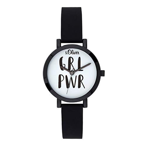 s.Oliver Mädchen Analog Quarz Uhr mit Silikon Armband SO-3767-PQ
