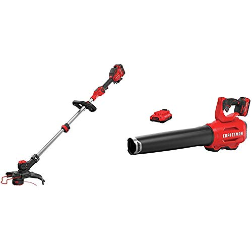 Amazing Deal CRAFTSMAN CMCST910M1 V20 MAX String Trimmer with CMCBL720D2 V20 Handheld Blower