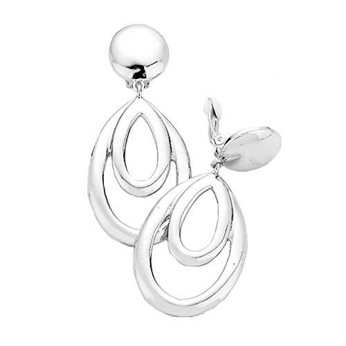 Schmuckanthony Hoernel. Orecchini a cerchio lunghi e alla moda, con clip, in argento lucido, 7,3 cm di lunghezza