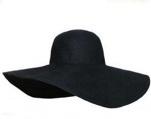Lukis 1x vintage Frauen breiter Krempe Damen Hut Sonnenhut Strohhut (Schwarz)