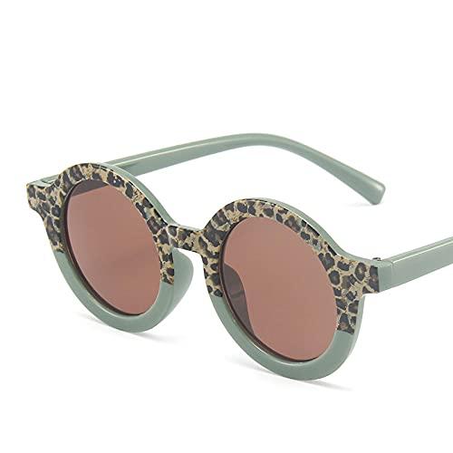 Gafas De Sol Gafas De Sol Redondas De Retales De Colores, Lindas Gafas De Sol Verdes De Leopardo, Gafas De Sol para Niñas Y Niños, Tendencias Vogue C01