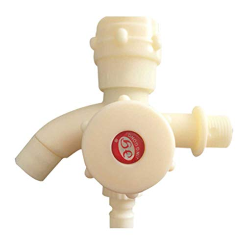 Grifo de agua fría de plástico de Topbathy, multifuncional, doble caño, para lavabo, grifo de agua de 20 mm