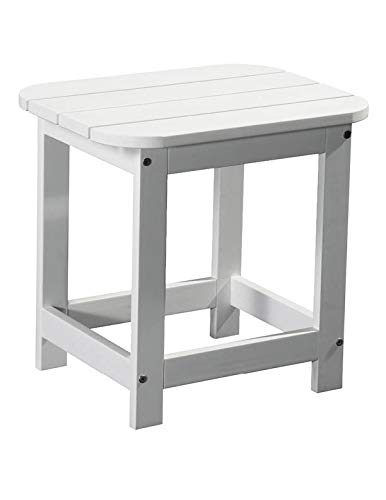 PolyTEAK Compact Outdoor Side Table, Powder White | Weather Resistant, Patio Side Table for Small Spaces Outside | Made from Special Formulated Poly Lumber Plastic