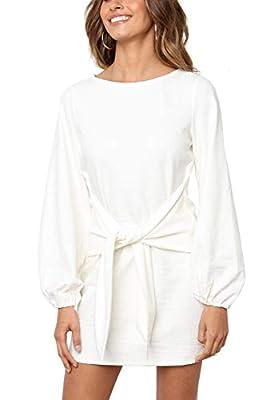 R.Vivimos Women's Autumn Winter Cotton Long Sleeves Elegant Knitted Bodycon Tie Waist Sweater Pencil Dress (Medium,White)