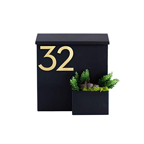 Modern Aspect Greetings Wall-Mounted Mailbox  Powder Coated   Weather Resistant   Modern   House Numbers - Colors Black, White, Gray, Brown With Customizable Numbers Made In The USA