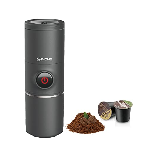 Imons Automatic Portable Coffee Machine Stainless Cup Make Coffee/Tea use K Capsule/Ground Coffee, use Hot Water to Make Coffee Instantly