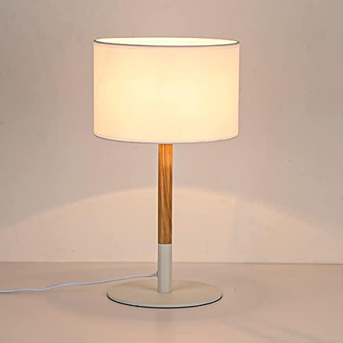 BarcelonaLED Lámpara de mesa nórdica blanca con base de aluminio, cuerpo de madera y pantalla de tela, casquillo para bombilla LED E27 sobremesa escritorio salón mesita de noche