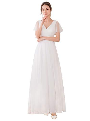 Ever-Pretty Vestito da Festa Donna Linea ad a Tulle Abito da Sera Scollo V Lungo Cerimonia Bianco 50