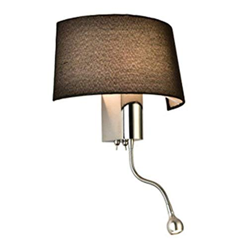 Applique LED panneau de tissu métallique Noir Abat-Jour Retro Industriel Vintage design applique murale Luminaire E27 intérieur Décoratif Éclairage direct pour lampe de chevet hall balcon bar