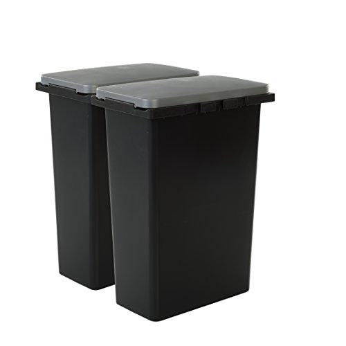 IRIS Juego de Cubos de Reciclaje de 30 litros con Tapa Plateada, Color Negro