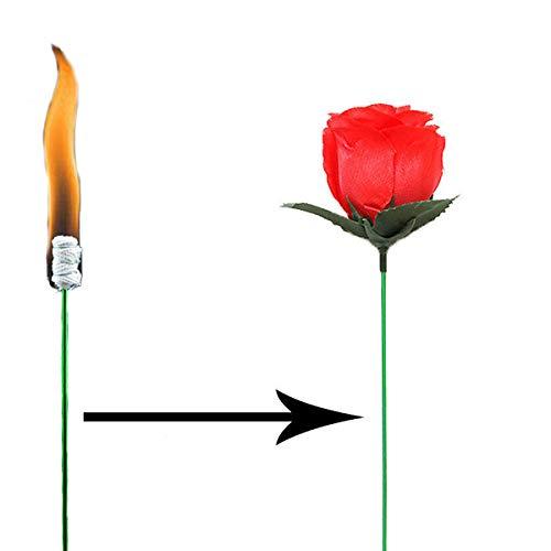 Zaubertrick Fackel zu Rose , Torch to Rose - Zaubereffekt mit Feuer (2 Stück) Einfach zu Lernen - Magie Zauber Gimmick Zubehör für Erwachsene