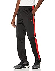 professional PUMA Men's Contrast Pants, Black Puma Red, Size X-Large