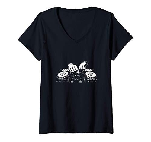Mujer Regalos para DJ Camiseta Cuello V