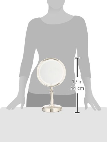 Conair Reflections Double-Sided Fluorescent Lighted Vanity Makeup Mirror, 1x/10x magnification, Satin Nickel