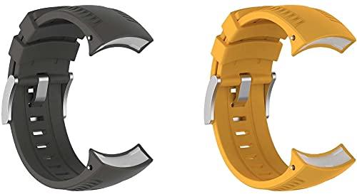 Gransho Bandas de Repuesto Compatible con Suunto 9, Reloj Correa de Silicona Suave Correas Pulseras Correa Deportiva Pulsera (Pattern 2+Pattern 4)