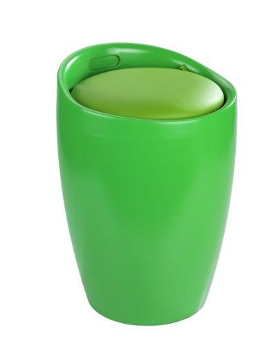 WENKO 20629100 Hocker Candy Green - Badhocker, mit abnehmbarem Wäschesack(100 % Polyester), Kunststoff - ABS, 36 x 50.5 x 36 cm, Grün