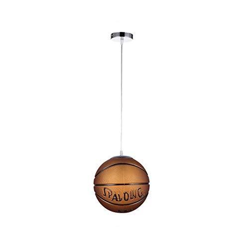IW.HLMF Lámpara Colgante de Vidrio Baloncesto Fútbol Lámpara de Techo Pantalla de Bola Redonda Decoración de la habitación de los niños Lámpara Colgante E27 Ajustable Regalo para niños 25CM, Fútbol