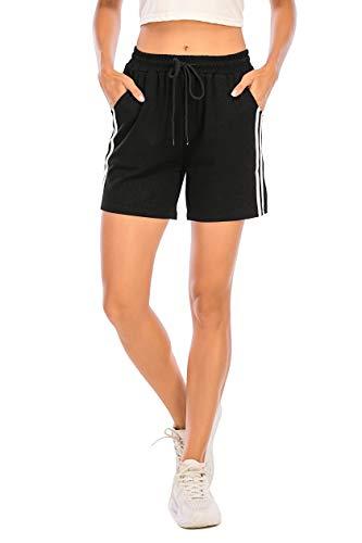 Short de Sport Femme Pantalon Court avec Bande Blanche Été pour Fitness Jogging Gym Yoga Bas de Pyjama d'intérieur Casual Ample Extensible Noir M