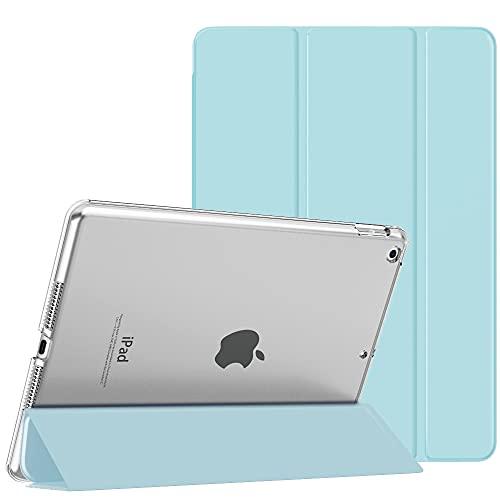 MoKo Funda para Nuevo iPad 8ª Generation 2020/7ª Generación 2019, iPad 10.2 Case, Ultra Delgado Función de Soporte Protectora Plegable Cubierta Inteligente Trasera Transparente, Azul Claro/Claro