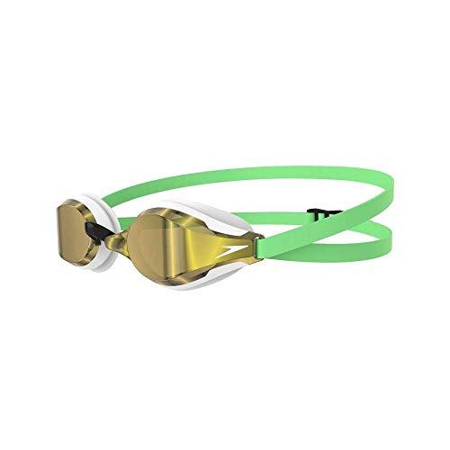 Speedo Fastskin Speedsocket 2 Mirror Occhiali da Nuoto, Unisex Adulto, Green Glow/White/Gold, Taglia Unica