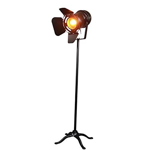 DXXWANG Floor Lamp Reading Decorative Lights,Industrial Retro Black Searchlight Height Adjustable Closable Shade Rotatable Body E27 Single Head Baking